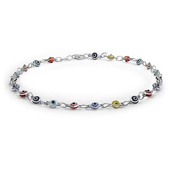 Evil Eyes Multi Color Anklet Ankle Bracelet Sterling Silver 10 Inch