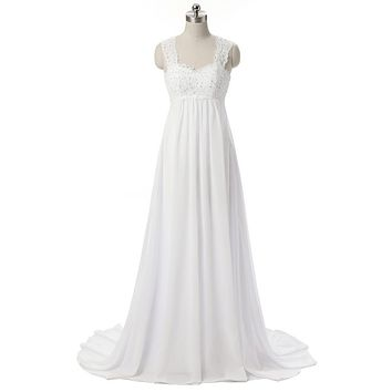 Real Photo Stocked Vintage Sweetheart Chiffon Beaded A-Line Pregnant Wedding Dress Open Back Floor Length Sweep Train Brautkleid