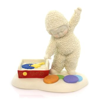 Dept 56 Snowbabies Put A Record On Baby Christmas Figurine