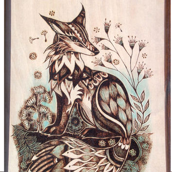 Framed Pyrography Art, Fox, Woodburning art, Wood burning wall hanging, fox gift, Fox art, Fox Painting, wildlife art, british wildlife,  UK