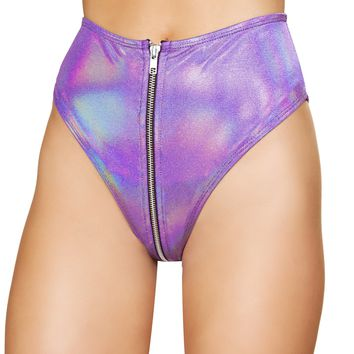 Purple High-Waisted Shorts with Zipper