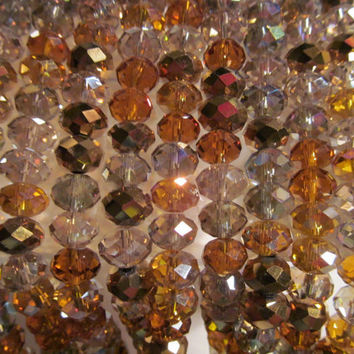 Amber gold crystals, faceted rondelle beads, fashion jewelry beads