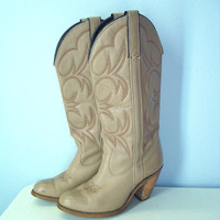 Vintage Western Boots / 70s 80s Capezio Tan Boots / by SnapVintage