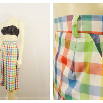Vintage Skirt 60s Mad Men Gordon of California Skirt Bright Colorful Plaid Inverted Pleat Great Summer A Line Skirt Size 14 Modern Medium