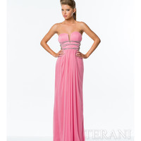 Coral Strapless Plunging Illusion Neckline Gown