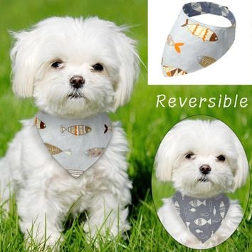 Reversible Denim Dog Bandana Printed Pet Scarf Bow ties Collar Cats Dogs Accessories Grooming for Small Medium Pet Chihuahua