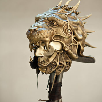 Metal Helmet,Gladiator Helmet,Predator Helmet,Lion Sculpture,Ancient Helmet,Military Armor,Metal Sculpture,Museum Quality Art,Mask Warrior