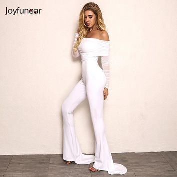 Joyfunear New Autumn Off Shoulder Sexy Rompers Womens Jumpsuit Women Cotton Black White Flares Long Sleeve Jumpsuits Overall