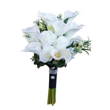 Large real touch Calla lily bridal bouquet-silk flower roses and greenery