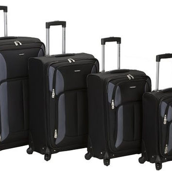 F155-BLACK 4Pc Impact Spinner Luggage Set