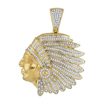 10kt Yellow Gold Mens Diamond Indian Chief Charm Pendant 1 & 1-6 Cttw