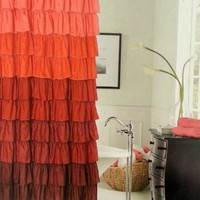 Flamenco Ruffled Bathroom Shower Curtain Red & Burgundy New