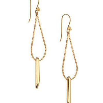 Dot amp Line rebel bar goldsilver double chain drop earrings