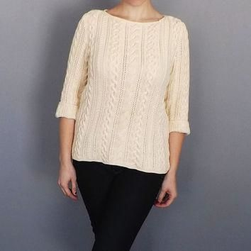 Vintage Women's Ralph Lauren 90s Creamy White Cable Knit Cotton Sweater Fall Nautical
