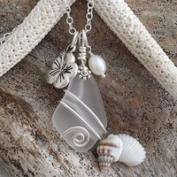 """Handmade in Hawaii, """"April Birthstone"""" wire wrapped Crystal sea glass beach glass necklace, Hibiscus and Pearl charms"""