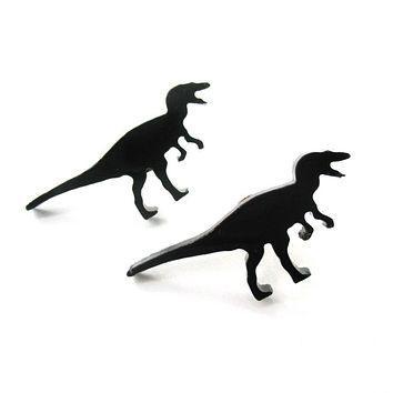 T-Rex Silhouette Dinosaur Shaped Laser Cut Stud Earrings in Black