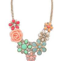 Women Necklace Link Chain Necklaces Choker Flower Pendant Jewelry