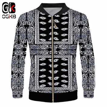 OGKB Men's Printing Black Bandana Paisley 3D Jackets Coats Cashew Flower Zipper Outwears Man Long Sleeve Stand Collar Overcoats