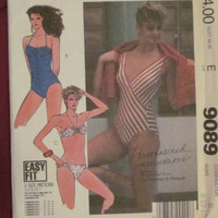 Uncut 1980's McCall's Sewing Pattern, 9089! Sizes 8-10-12 Small/Medium, Women's Misses Bikini's/Swimsuits/One Piece Bathing Suit, Swimming