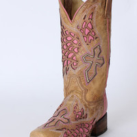 Corral Boots® Ladies' Antique Saddle/Pink Side Wing & Cross Boots