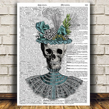 Skull decor Steampunk print Dictionary poster Anatomy print RTA1159