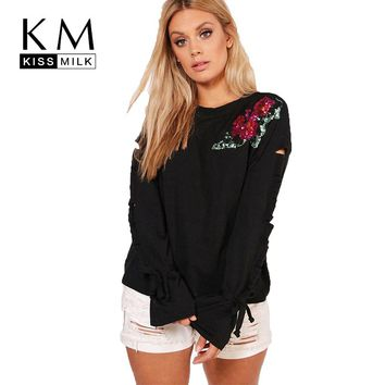 Kissmilk Women Plus Size Floral Sequin Sleeve Hole T Shirt Long Sleeve Black Round Neck Basic Tops Large Size Casual T Shirt