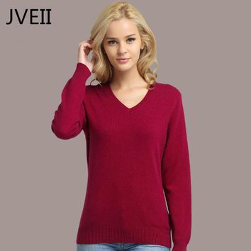 V-Neck Cashmere Sweater Women Fashion knitting pullovers Winter Sweater Pullover Plus size Solid Color Sweaters Female