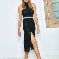 Alexis Oli Skirt w/Slits in Black Organza Lace Embroidery