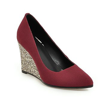 Sequins High Heel Plus Size 33-43 Shallow Pointed Toe Wedges Shoes Woman