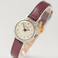 Simple women's watch Youth, girl's watch small, minimalist USSR lady wristwatch, petite woman watch delicate, premium leather strap new