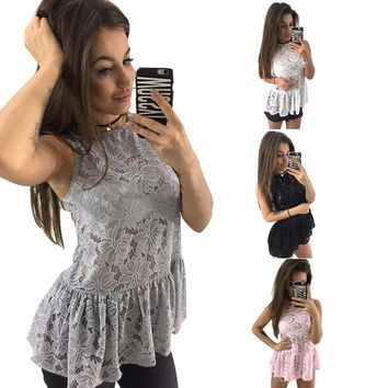 Sexy Women's Summer Lace Bottom Sleeveless Camis Tops Casual Tank Top T Shirt New Fashion 2017 Black Pink Crochet Basic Vest