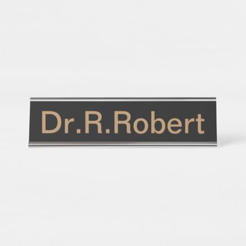 "Desk Name Plate, Standard (2"" x 8""), Black Desk Name Plate"
