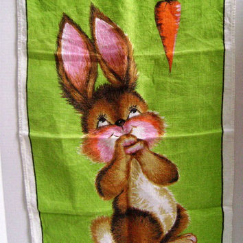 VINTAGE Dunmoy Irish Linen Tea Towel, Spring Bunny and Carrot, Hostess Gift, New Old Unused Pristine, Green, Brown, Pink, Reward