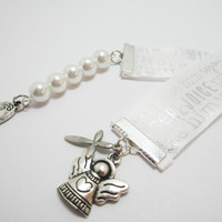 Christian Ribbon Bookmark Baptism Confirmation Gift Angel and Remember Charms Praise Him Rejoice