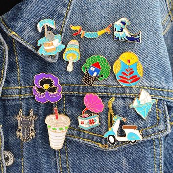 Trendy Cartoon Compilation Tree house Icebirg wave bird elephant Motorcycle Brooch Pin Denim Jacket Badge Jewelry Gift Surprise for Kid AT_94_13