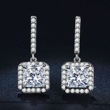Cc Push-back Classic Platinum Plated Cubic Zirconia Stud Earrings For Women Mse033