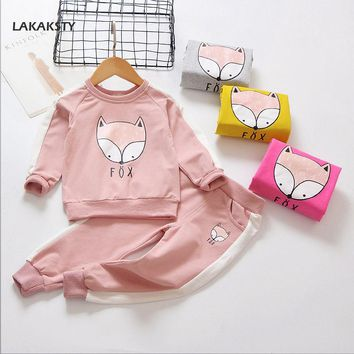 LAKAKSTY 2018 Spring Autumn New Children Girls Clothing Set Toddler Girl Clothes Cartoon Cute Fox Baby Costume Kids Sports Suits