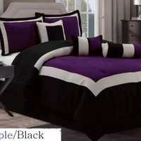 7 Pc Modern Hampton Comforter Set BLACK / PURPLE BED in a BAG - Queen Size Bedding