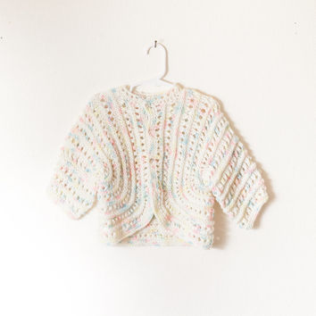 Vintage Crocheted Baby Sweater | Hand Made Hand Knit White Baby Sweater Boho Hippie Variegated Yarn Pink Yellow Blue Cardigan Sweater 80s