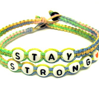 Stay Strong Bracelet Set, Carousel Macrame Hemp Jewelry, Pink, Blue, Yellow, Green, Free North American Shipping