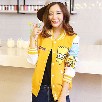 2017 Women Jackets New Casual Slim Baseball Patchwork Jaqueta Cartoon Simpson Feminina Coat Cardigan Moletons Sweatshirt Casaco