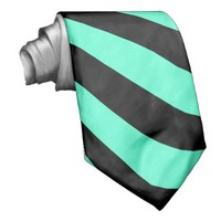 Mint and Black Stripes - Tie