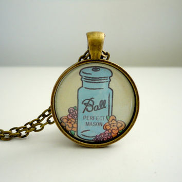 Mason Jar Pendant Charm // Antique Ball Jar // Perfect Mason // Necklace Pendant