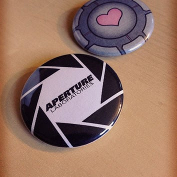 Thinking With Portals Pinback Buttons - Companion Cube Cake Aperture Labs Wheatley Space Fact Rick Adventure Core - SINGLES & DOUBLES
