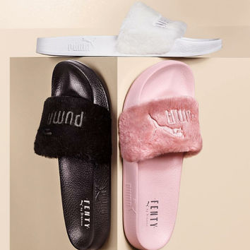 """PUMA"" Rihanna Fenty Leadcat Fur Slipper shoes Pink white"