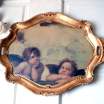 Vintage Gold Tray with Cherub Art, Made in Italy, Gold Distressed Wooden Decorative Tray, Serving Tray, Shabby Chic Kitchen and Dining