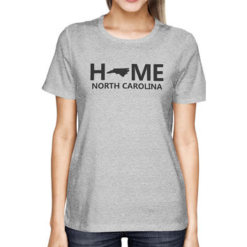Home NC State Grey Women's T-Shirt US North Carolina Hometown Tee