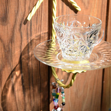 Upcycled Bird Feeder Shabby Chic  Yellow Vintage Glass Metal Candle Holder Recycle Handmade Littlestsister