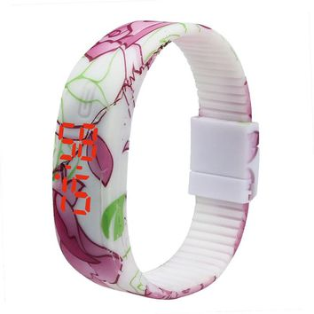 Women Girls Sports Silicone Digital LED Bracelet Wrist Watch