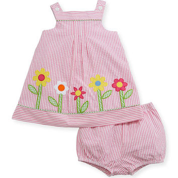 Florence Eiseman Striped Seersucker Flower-Border Dress w/ Bloomers, Size 3-24 Months
